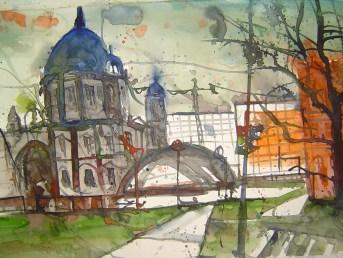 Berliner Dom mit Palast der Republick 2005 - Aquarell von Andreas Mattern - 38 x 56 cm