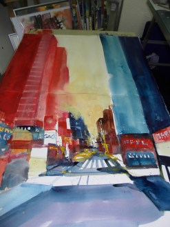 Enstehung ,New York Aquarell 112/76cm