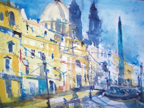 Rom, Piazza Navona, Aquarell 38/56 cm von Andreas Mattern