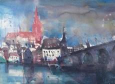 Regensburg, Aquarell 56/76 cm, Andreas Mattern