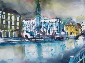 "Hamburg ""Rathaus"" , Aquarell 56/76 cm, Andreas Mattern, 2012"