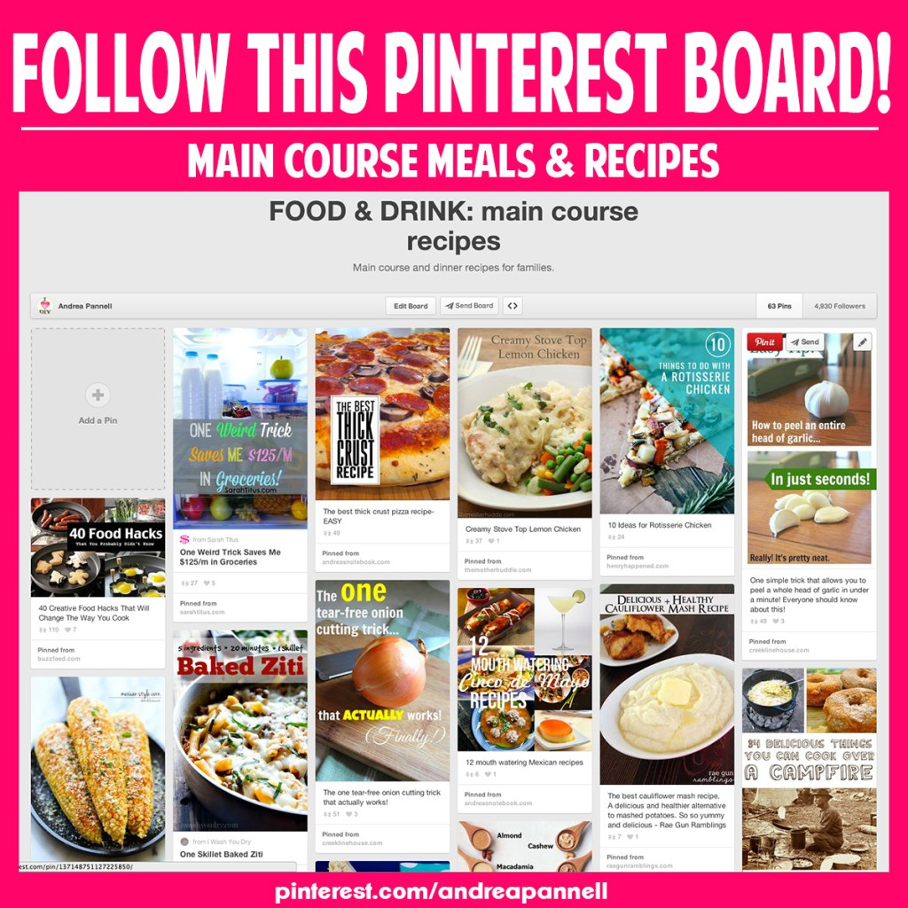Main course food & recipe pinterest board you should follow.