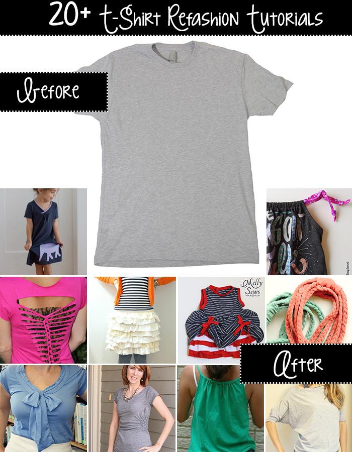 20+ t-shirt refashion tutorials!