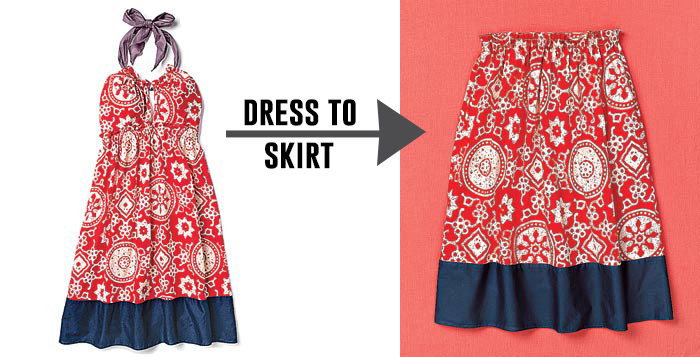Turn a dress into a skirt! Lots of great tips to make clothes last longer!