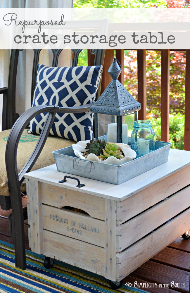 Storage crate turned into a crate storage table