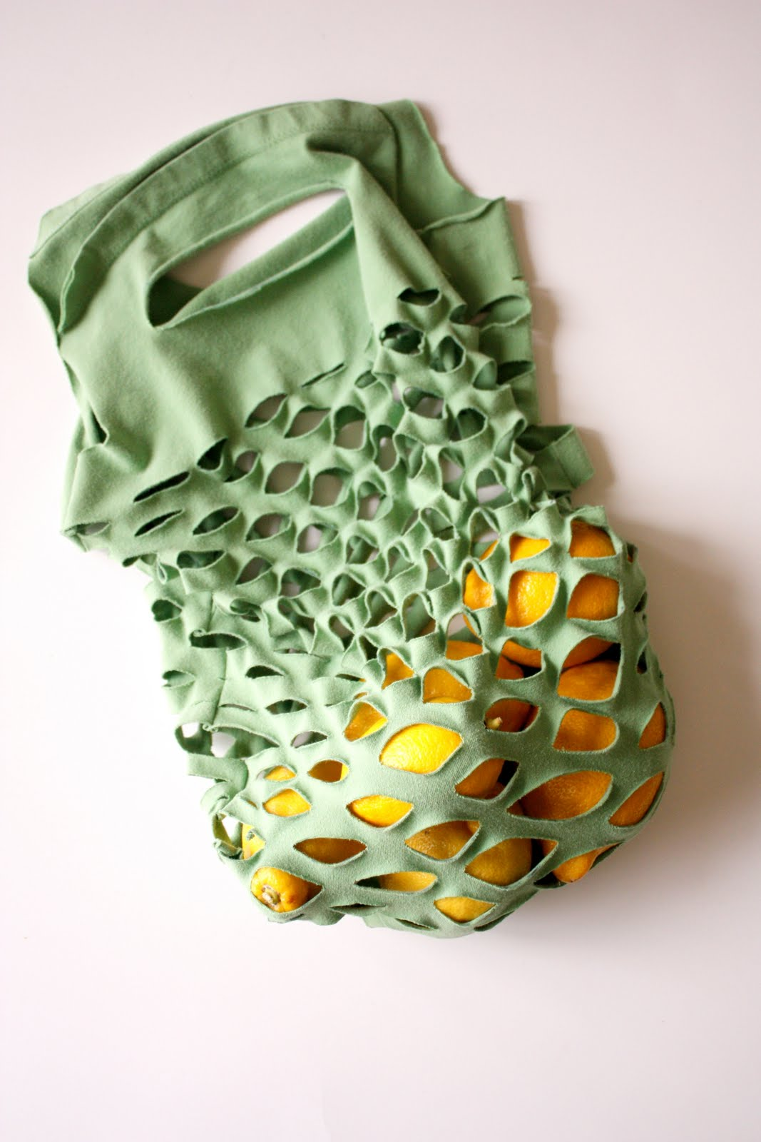 Simple DIY produce bag from a t-shirt.