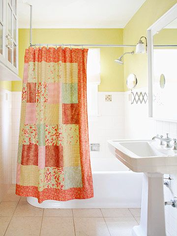 Patchwork shower curtain tutorial