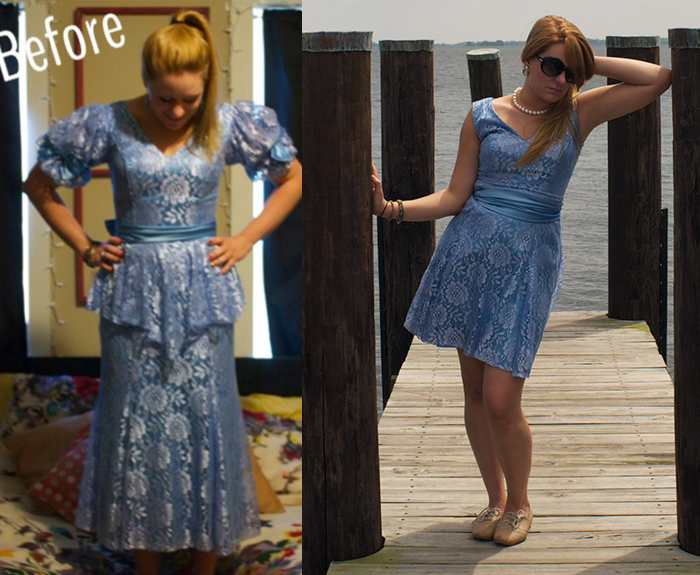 before/after DIY prom dress refashion