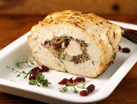 cranberry stuffed turkey breast cooked in a slow cooker!