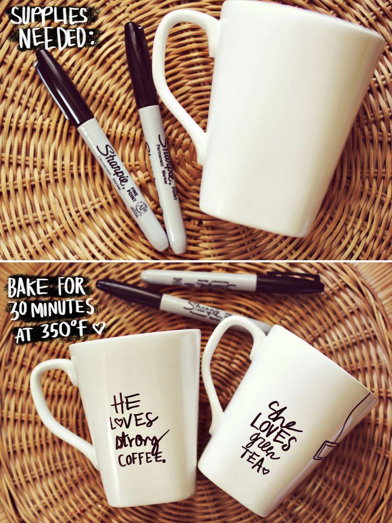 His and her mug DIY
