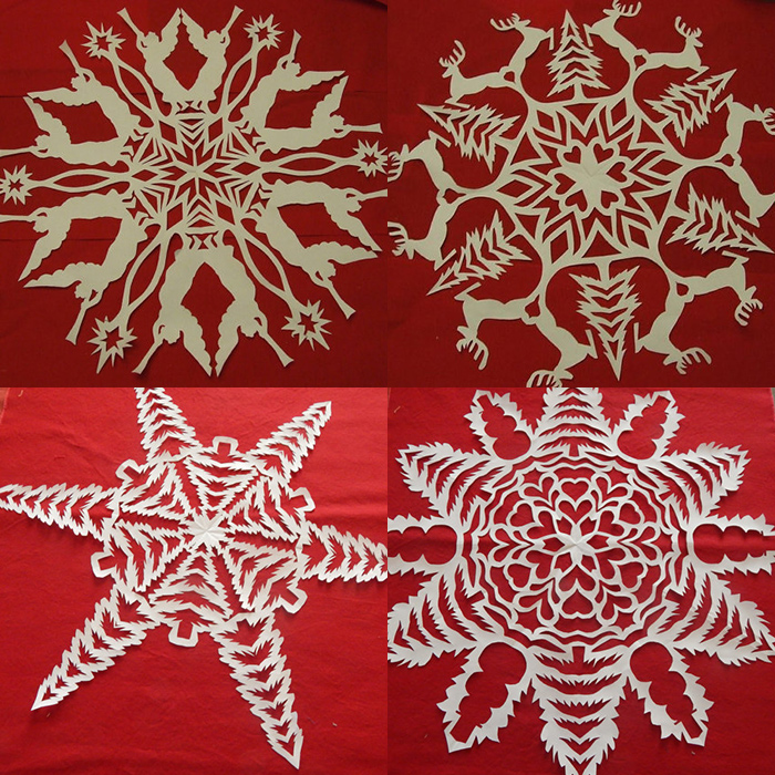 Christmas themed snowflake templates