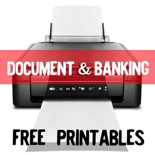 FREE printables! Great for documents and banking