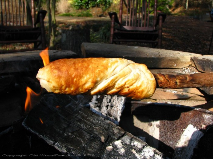 Wrap a canned biscuit on a stick and bake over a campfire. Stuff with scrambled eggs for a delicious breakfast!