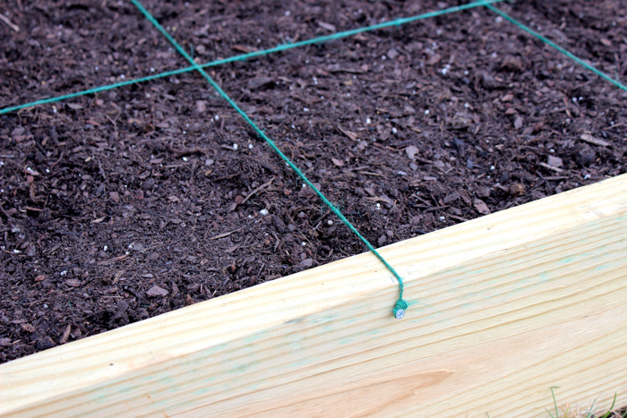 DIY Garden Box--attach twine
