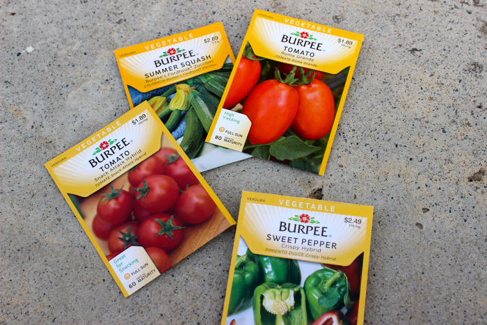 Seed packets for a square foot garden