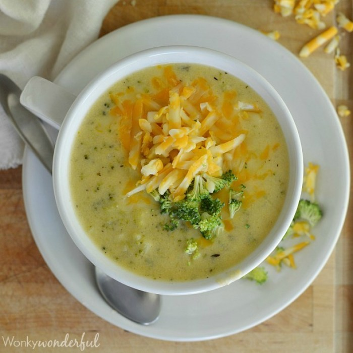 Comforting Broccoli Cheese Soup in 30 minutes.