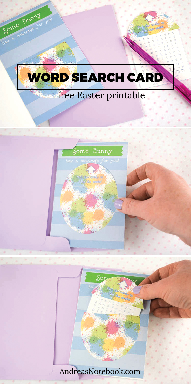 FREE printable Easter card with word search