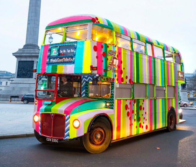 knitted double decker bus - yarn bomb