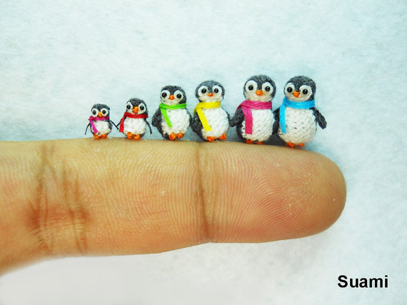 The cutest tiny knitted penguins