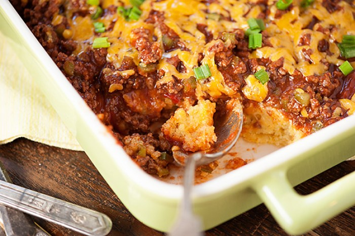 Sloppy Joe and Cornbread, together. A quick, family pleasing casserole!