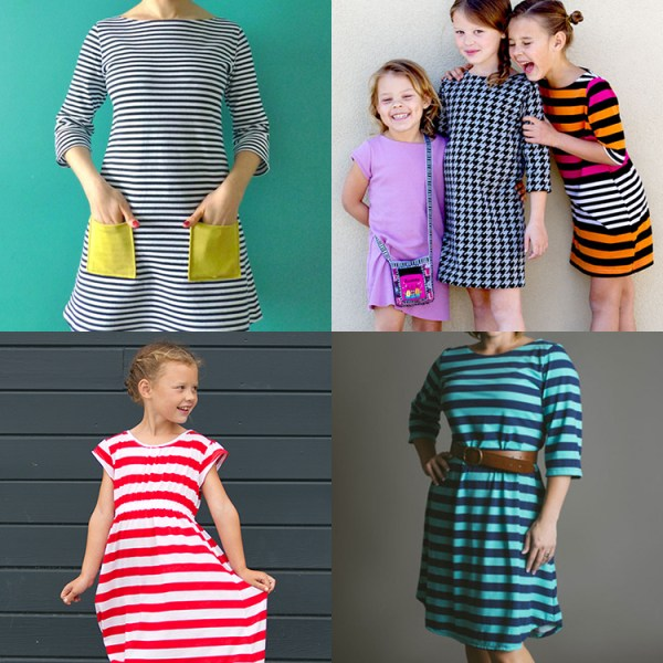 4 T-Shirt Dress Patterns for Girls and Women. I heart these!