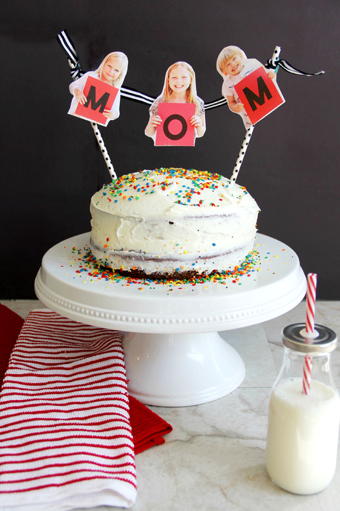 Make Mom smile this Mother's Day with a fun photo bunting on her cake!