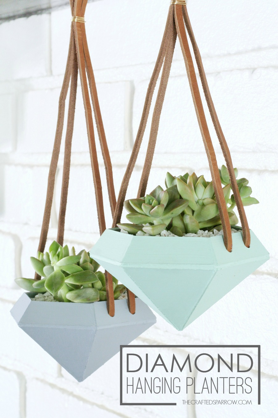 DIY diamond hanging planters - way easier than they look!