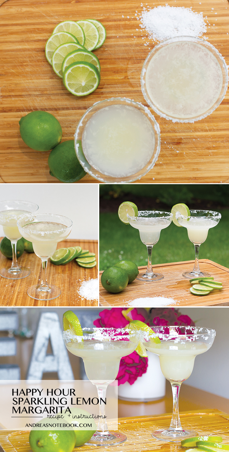 Sparkling lemon margarita recipe! Perfect for an easy happy hour!