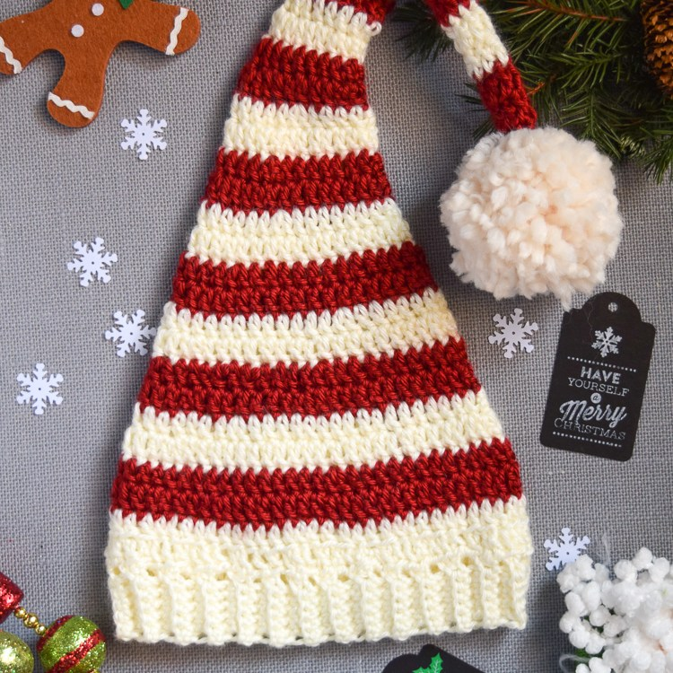 Pixie Elf Striped Crochet Hat Pattern