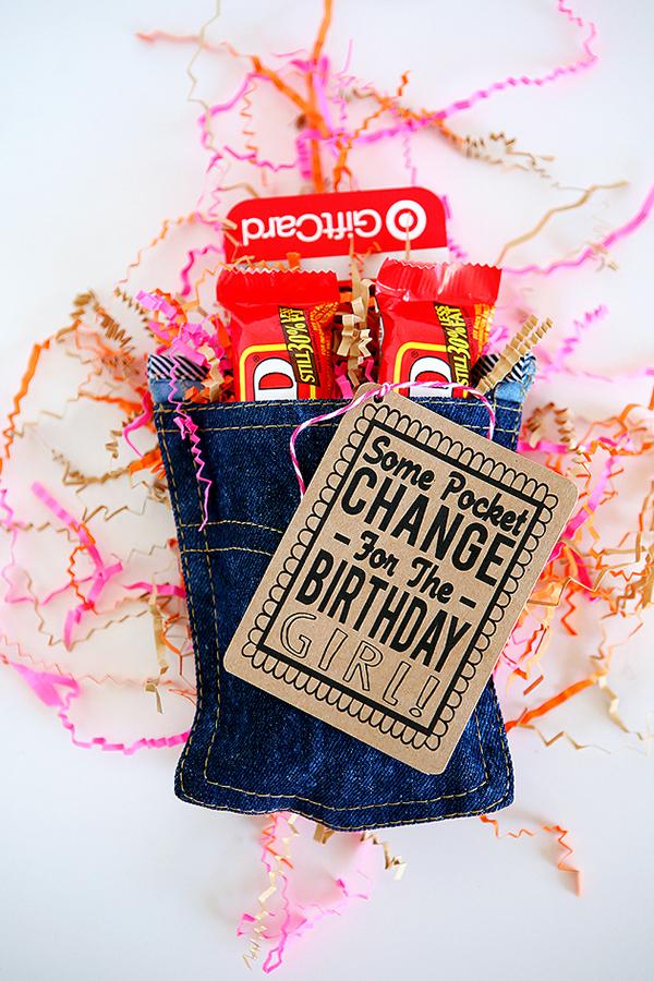 Upcycled denim pocket for a gift