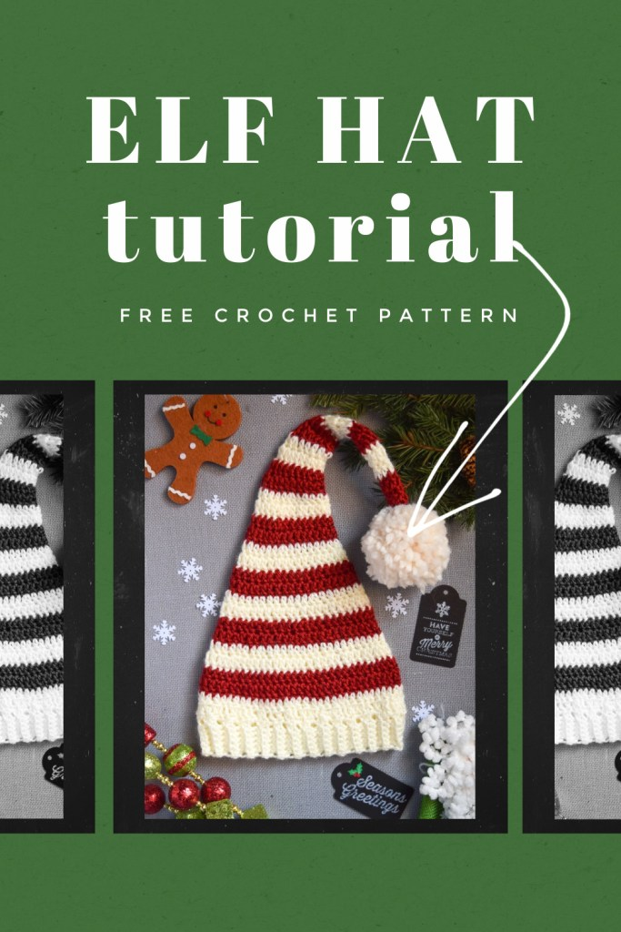 FREE Pixie Elf Hat Crochet Pattern and Tutorial green photo red white stripe gingerbread