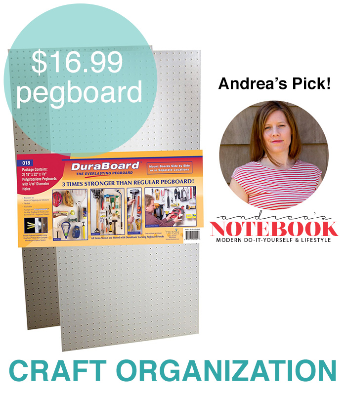 Use pegboards to organize your crafts! Organization tip from https://andreasnotebook.com