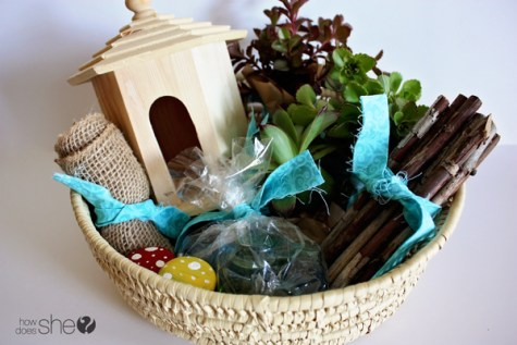 DIY fairy garden gift basket