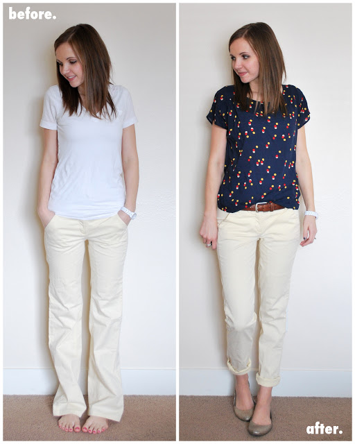 wide leg to tapered leg pants refashion