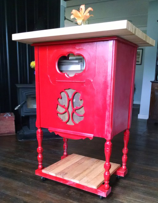 Turn a radio stand into a kitchen island