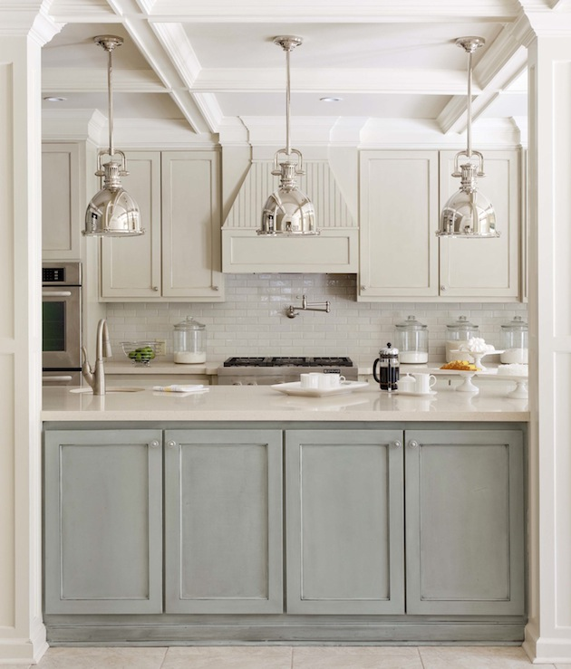 two toned gray cabinets