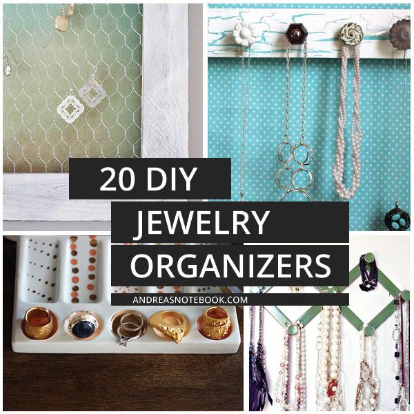 20 DIY Jewelry Organizers - tutorials