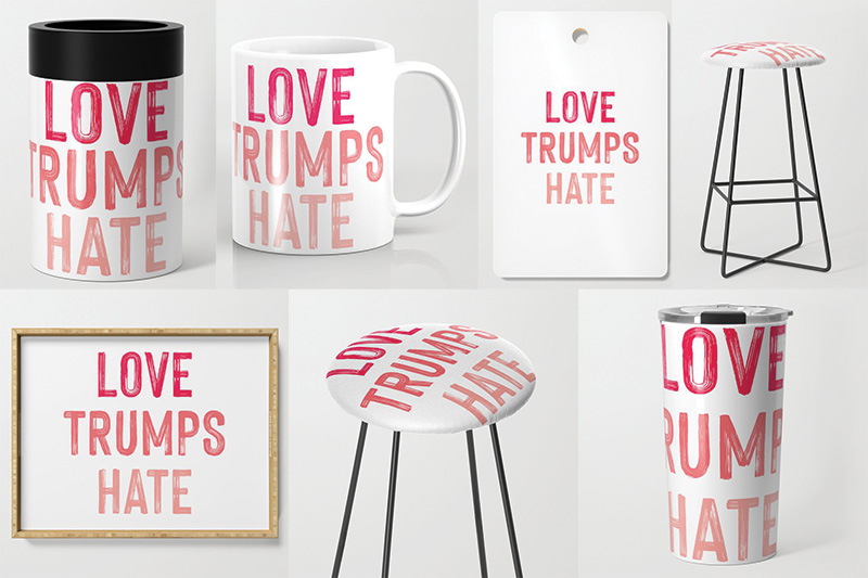 Love Trumps Hate stool, mug, travel much, cutting board, cup cozy