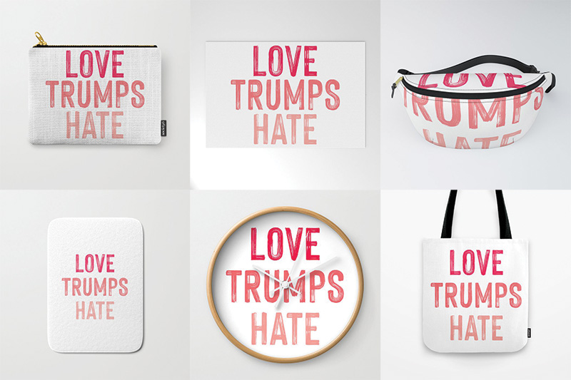 love trumps hate products tote fanny pack clock bath mat welcome mat