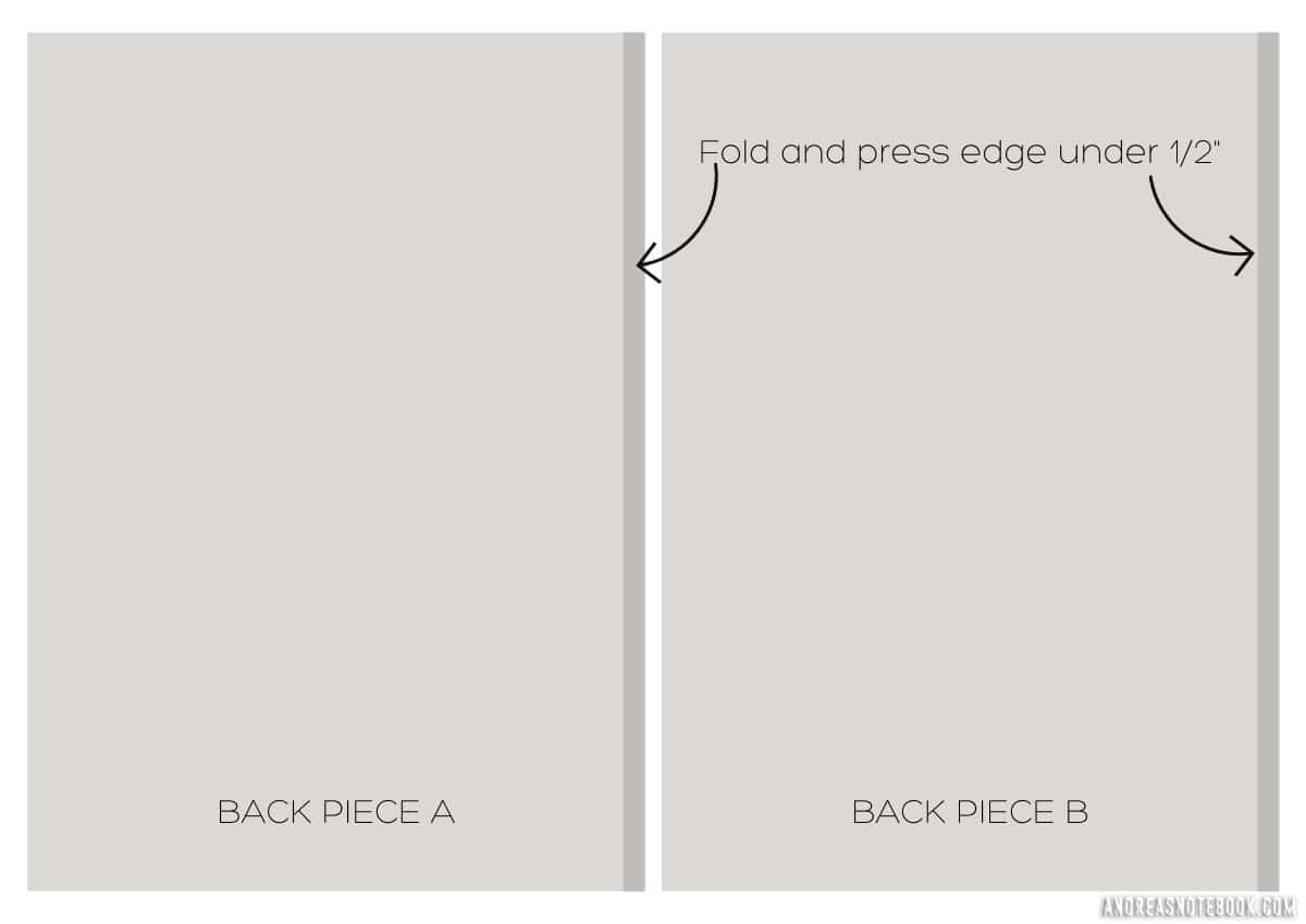 graphic of light gray rectangles. Right side shows edge folded under.