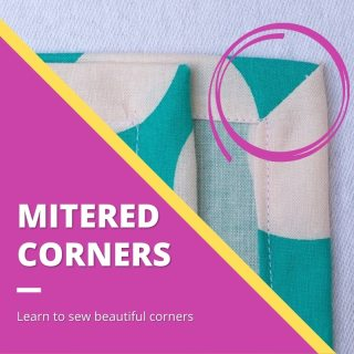 purple triangle in corner with text: how to sew mitered corners - purple circle around napkin with a mitered corner