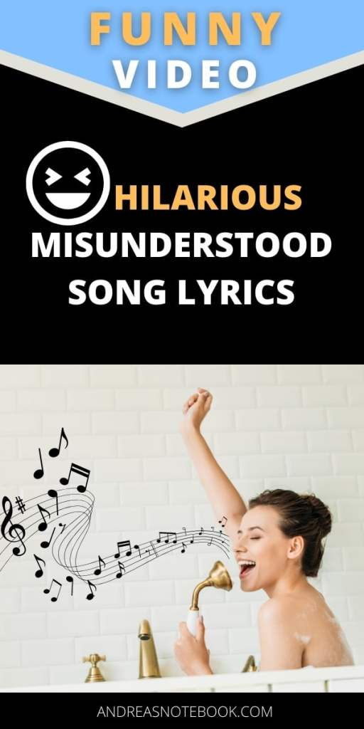 poster- gray and yellow background- photo of woman in tub singing - text says hilarious misunderstood song lyrics
