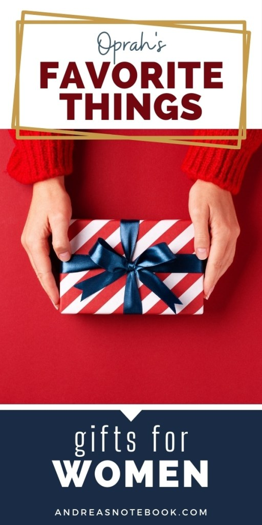 hands with red sleeves holding red striped gift with blue ribbon over red background