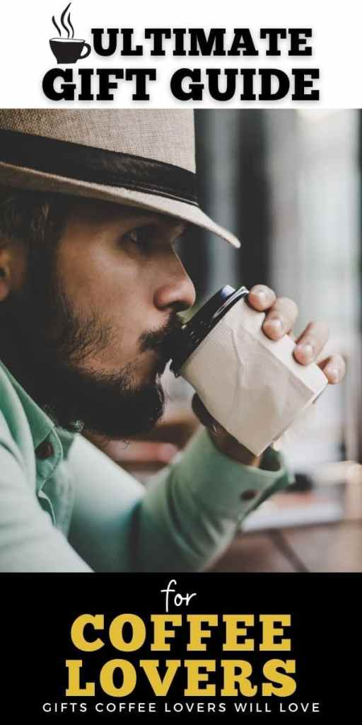 poster: gifts for coffee lovers: man with beard drinking disposable cup of coffee