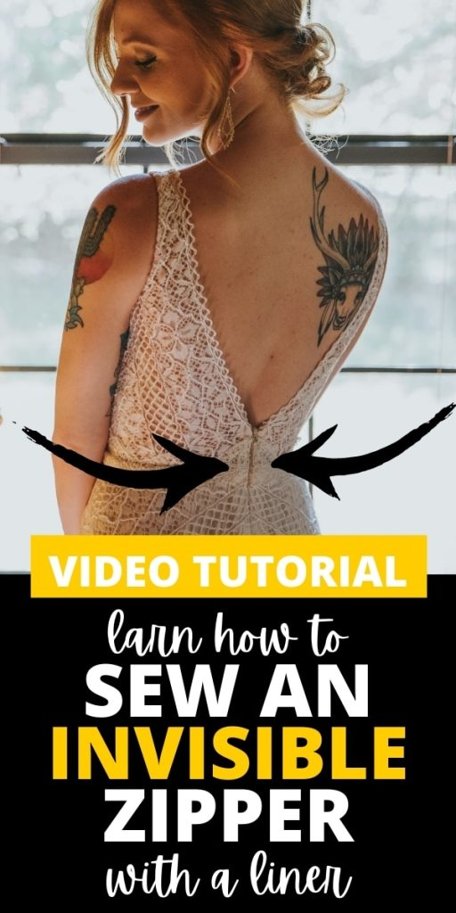woman in fancy lace dress with invisible zipper - text says how to sew an invisible zipper with with a lining