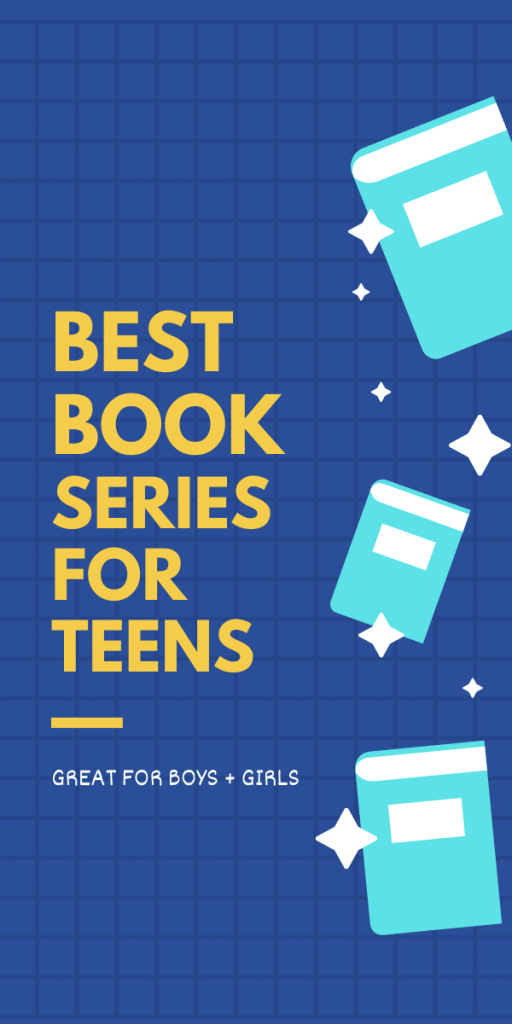 book series for teens poster - books floating in background