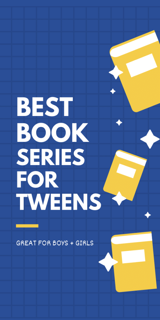 text reads book series for tween in bold black font- blue background with cartoon yellow books
