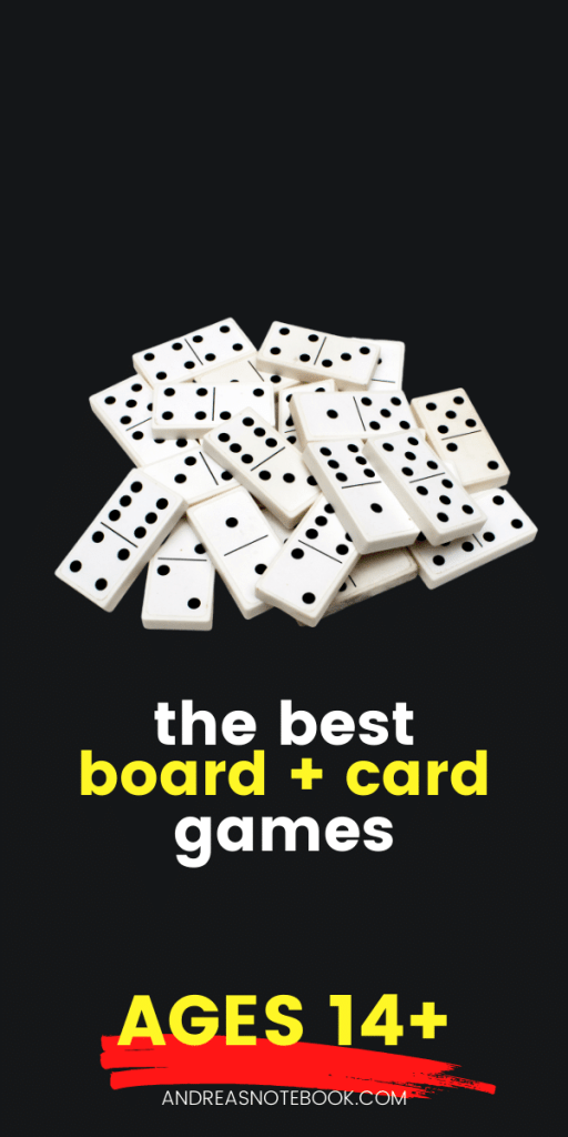 text: best board games for ages 14 and up | image: dominoes