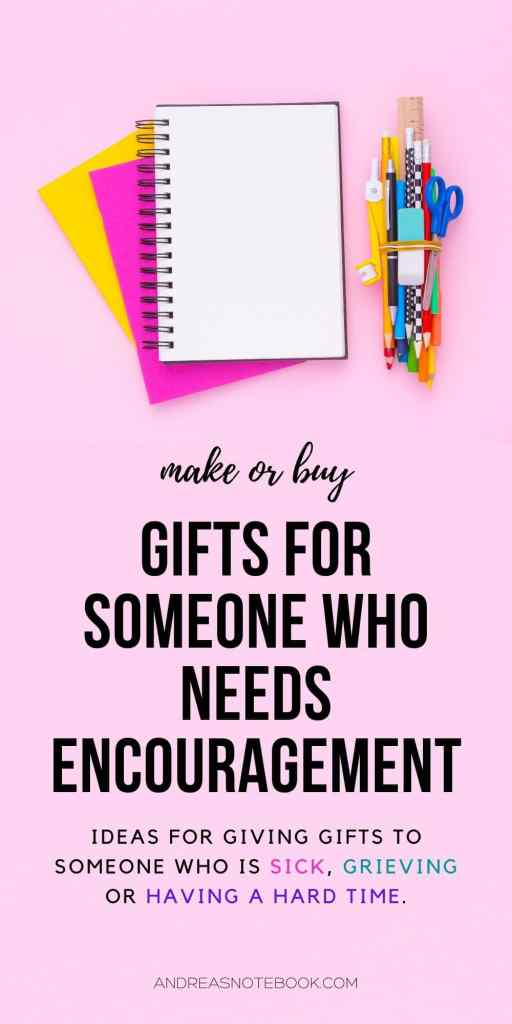 pink background, empty notebook. Text: gifts for someone who needs encouragement