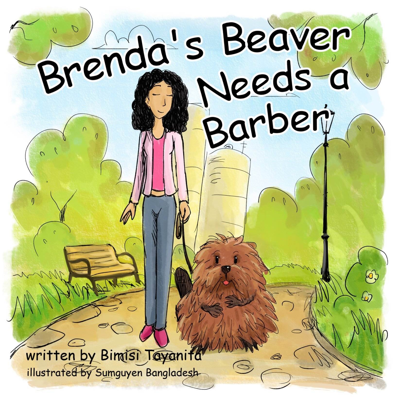 brenda's beaver needs a barber book cover with woman holding leash on a beaver